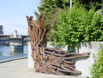 Sculptures line the Eastbank Esplanade path