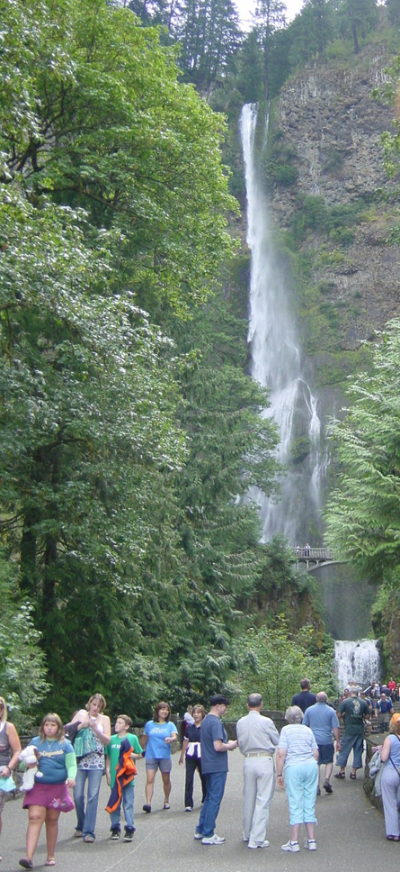 Multnomah Falls is a very popular summer stop